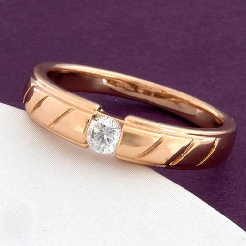 Ювелирное кольцо «Сорренто» с одним фианитом в красивой позолоченной оправе купить. Цена 135 грн