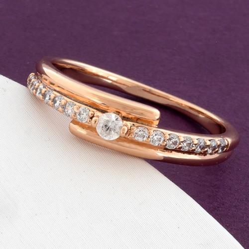 Аккуратное кольцо «Тет-а-тет» с цирконами и золотым покрытием от Xuping купить. Цена 165 грн
