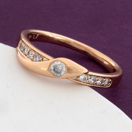 Женское тонкое кольцо «Провидение» с покрытием из золота и бесцветными цирконами купить. Цена 165 грн