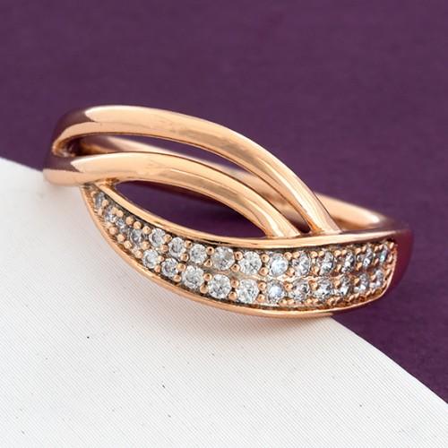 Обычное кольцо «Грация» с мелкими фианитами в позолоченной оправе купить. Цена 175 грн
