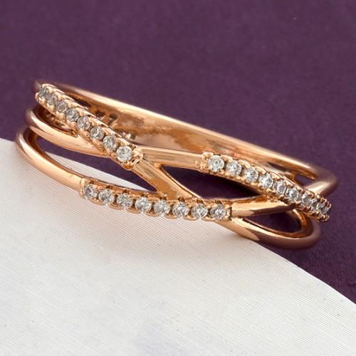 Чудесное кольцо «Эстетик» с мелкими фианитами в позолоченной оправе купить. Цена 165 грн