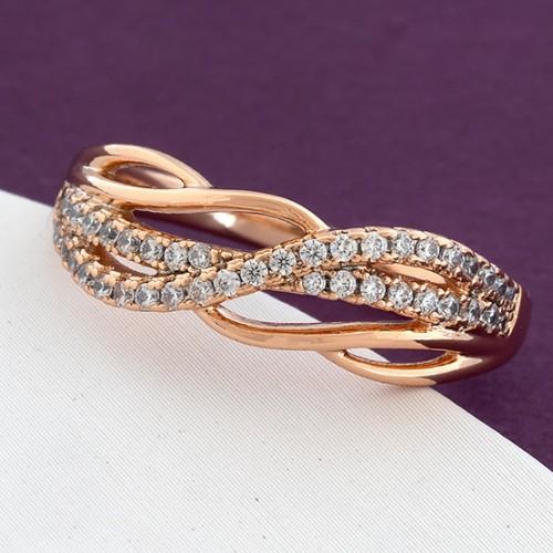 Вычурное кольцо «Прелесть» витой формы с бесцветными цирконами и позолотой купить. Цена 185 грн