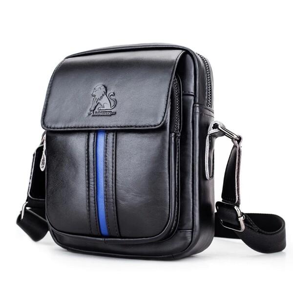Чёрная мужская сумка «Bullcaptain» из гладкой натуральной кожи купить. Цена 1399 грн
