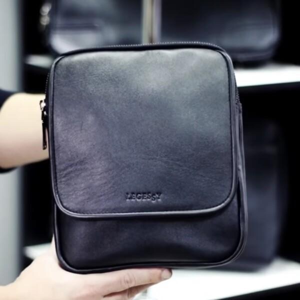 Тонкая мужская сумка «Legessy» из гладкой итальянской кожи чёрного цвета купить. Цена 2275 грн
