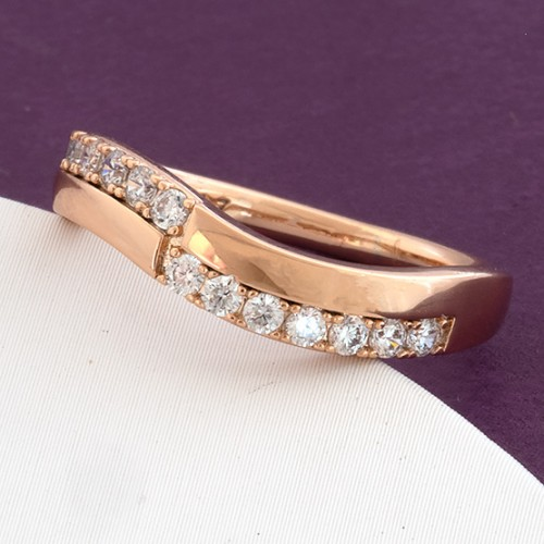 Круглое кольцо «Лионель» с двумя рядами фианитов в покрытой золотом оправе купить. Цена 155 грн