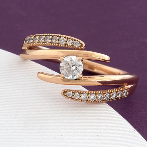 Необычное кольцо «Луиджи» интересной формы с фианитами и позолотой купить. Цена 175 грн