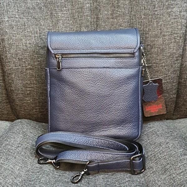Классная мужская сумка «Legessy» из натуральной зернистой кожи синего цвета фото 1