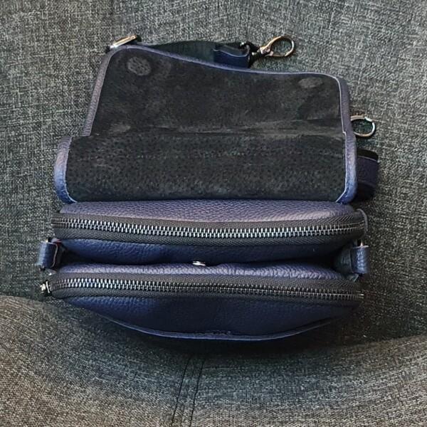 Классная мужская сумка «Legessy» из натуральной зернистой кожи синего цвета фото 2