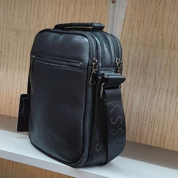Лаконичная мужская сумка «Legessy» из гладкой итальянской кожи чёрного цвета фото 1