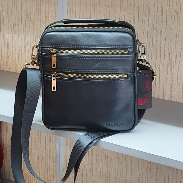 Солидная мужская сумка «Legessy» из гладкой итальянской натуральной кожи фото. Купить
