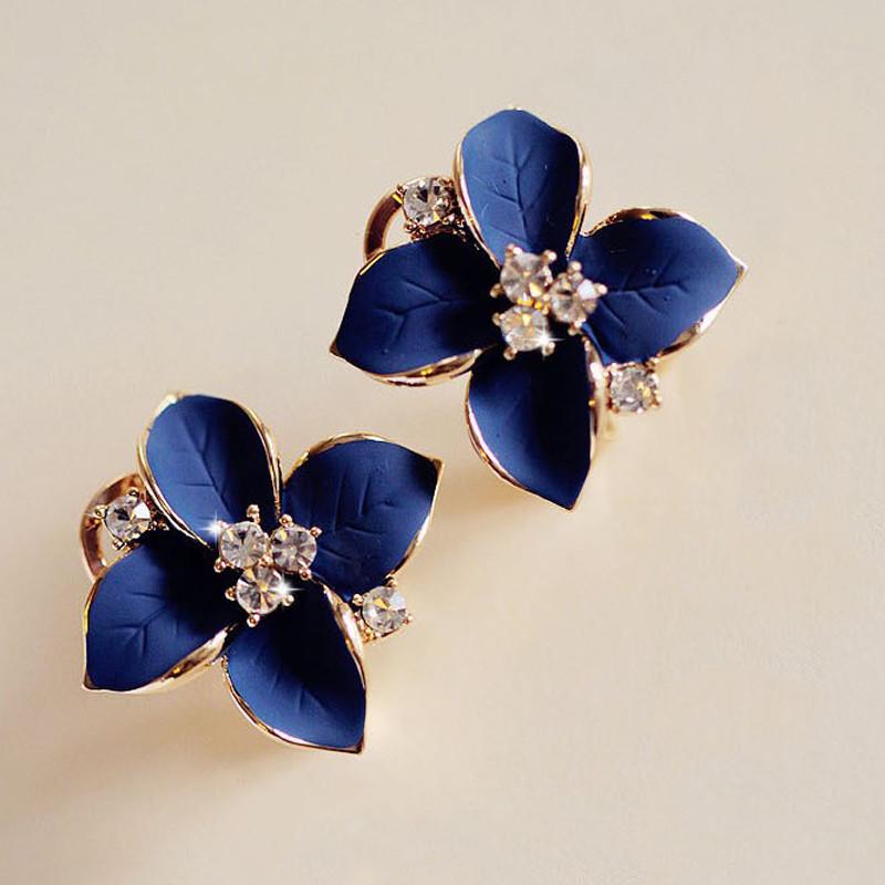 Синие серьги «Овации» в виде цветка из эмали со стразами, замок — итальянский купить. Цена 85 грн