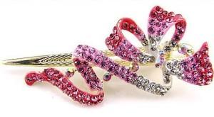 Красивая заколка-стрела «Бант Сваровски» с розовой эмалью и кристаллами Stellux купить. Цена 175 грн