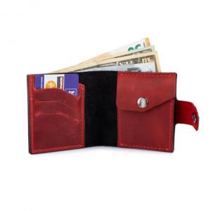 Дерзкий мужской бумажник «Dezzle» из красной кожи «crazy horse» фото 1