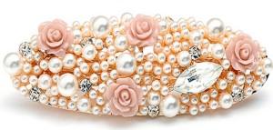 Небольшая свадебная заколка-автомат «Розы Жемчуг» с белыми жемчужинами, розочками и кристаллами Stellux купить. Цена 135 грн