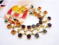Массивный позолоченный браслет «Большой» в виде цепи с разноцветными камнями в два ряда купить. Цена 100 грн или 315 руб.