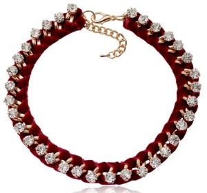 Вечерний браслет «Роскошь» с цепью, переплетённой с бордовым бархатом с бесцветными стразами купить. Цена 199 грн или 625 руб.