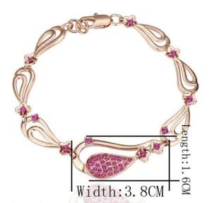 Позолоченный браслет «Грация» с крупными ажурными звеньями и розовыми кристаллами Stellux купить. Цена 220 грн или 690 руб.