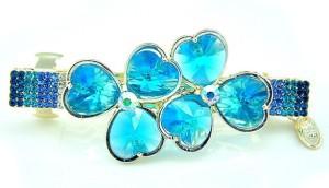 Яркая заколка-автомат «Синий клевер» с голубыми и синими кристаллами Stellux фото. Купить
