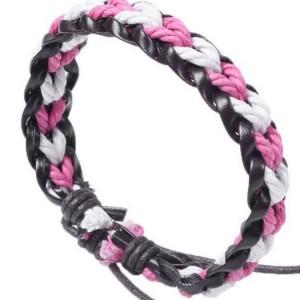 Женский кожаный, плетёный из шнурков бело-розовой косичкой, браслет на скользящем замке купить. Цена 79 грн