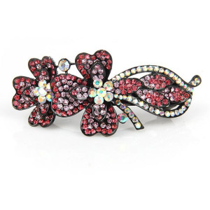 Металлическая заколка с чёрным корпусом «Комета» с двумя цветками, покрытыми розовыми и бесцветными кристаллами Stellux купить. Цена 135 грн