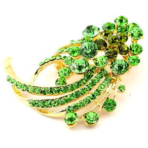 Очаровательная яркая брошь «Лесная фея» с напылением под золото и зелёными камнями Stellux купить. Цена 99 грн