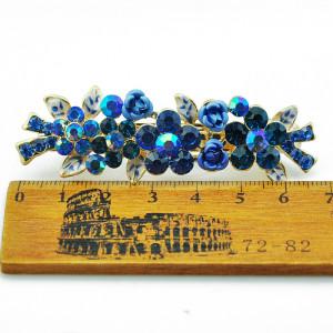 Стильная небольшая заколка-автомат «Лаванда» с сине-голубыми цветочками из страз и акрила купить. Цена 135 грн