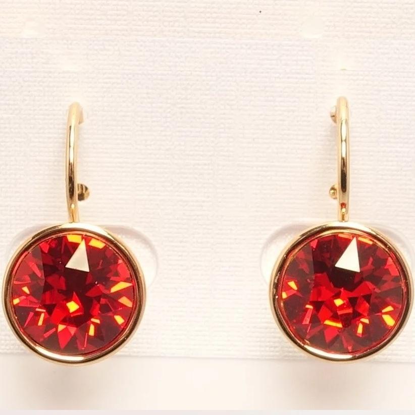 Яркие серьги «Багряные» с красным камнем Swarovski и позолотой купить. Цена 199 грн