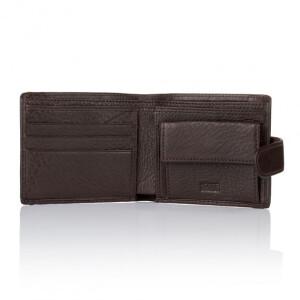 Классический кожаный бумажник «KAFA» шоколадного цвета с застёжкой на кнопку фото 1