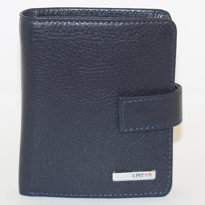 Компактный вертикальный бумажник «Karya» синего цвета из гладкой кожи купить. Цена 899 грн