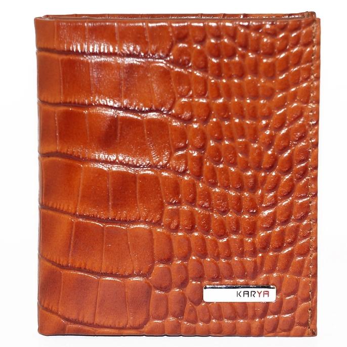 Красивый бумажник «Karya» из кожи рыжего цвета с тиснением под рептилию купить. Цена 799 грн