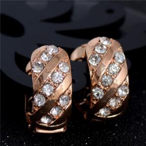 Очень недорогие серьги «Виртуоз» со стразами и покрытием под розовое золото купить. Цена 49 грн или 155 руб.
