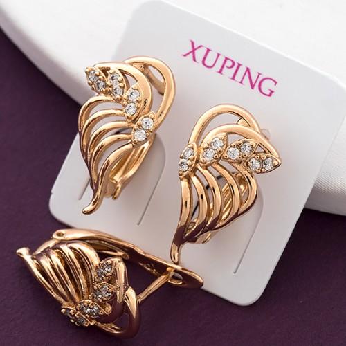 Ажурные серьги «Водевиль» с золотым напылением от Xuping купить. Цена 145 грн