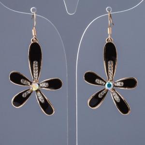 Крупные серьги «Беладонна» в виде чёрного цветка с эмалью и стразами купить. Цена 79 грн