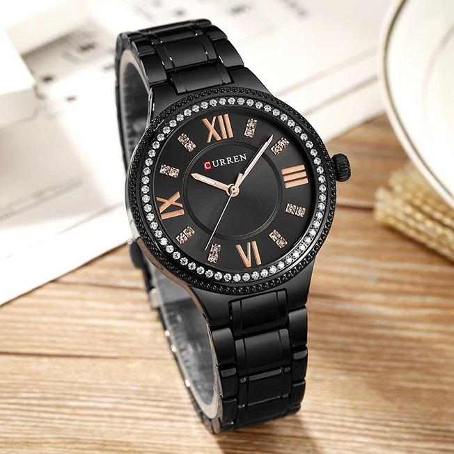 Чёрные женские часы «Curren» с браслетом из нержавеющей стали купить. Цена 899 грн