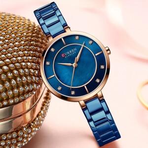 Стильные женские часы «Curren» с узким браслетом синего цвета купить. Цена 899 грн