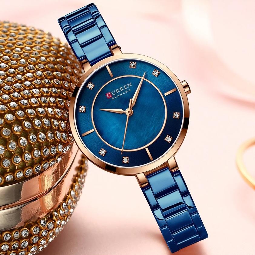 Стильные женские часы «Curren» с узким браслетом синего цвета купить. Цена 985 грн