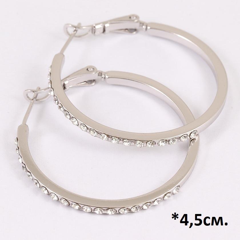 Крупные серьги-кольца «Прут в стразах» с мелкими цирконами и родиевым напылением фото. Купить