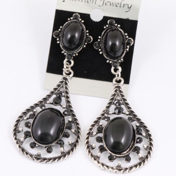 Недорогие серьги «Оклахома» чёрного цвета в металле под античное серебро купить. Цена 89 грн