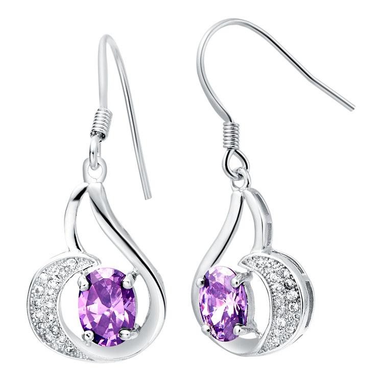 Серебристые серьги «Жюстина» из фианита фиолетового цвета и мелких кристаллов купить. Цена 155 грн