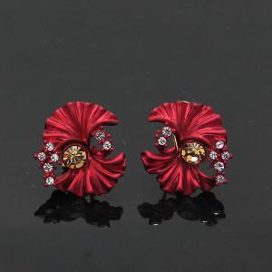 Красные серьги «Экзотик» (Viennois) в виде цветка из эмали с камнями Сваровски на итальянской застёжке фото. Купить
