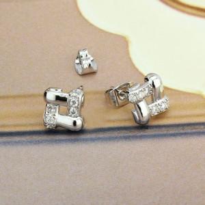Крохотные серьги-гвоздики «Рейкьявик» с камнями и напылением под платину купить. Цена 89 грн
