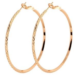 Средние серьги-кольца с напылением под жёлтое золото без камней и вставок купить. Цена 135 грн