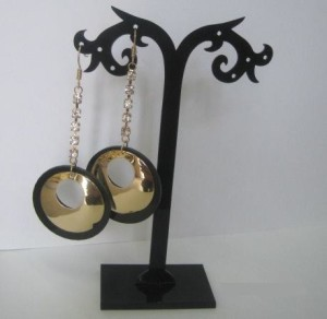 Висячие серьги «Дисковые» в виде цепочки из страз с золотым и чёрным дисками купить. Цена 69 грн