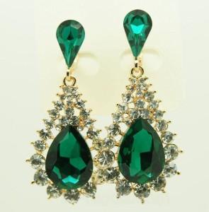 Висячие серьги «Люсьен» с крупным зелёным камнем и небольшими бесцветными стразами купить. Цена 165 грн или 520 руб.