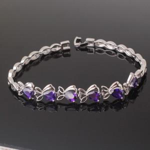 Загадочный браслет «Аметисты» с фиолетовыми цирконами и качественным платиновым покрытием фото. Купить
