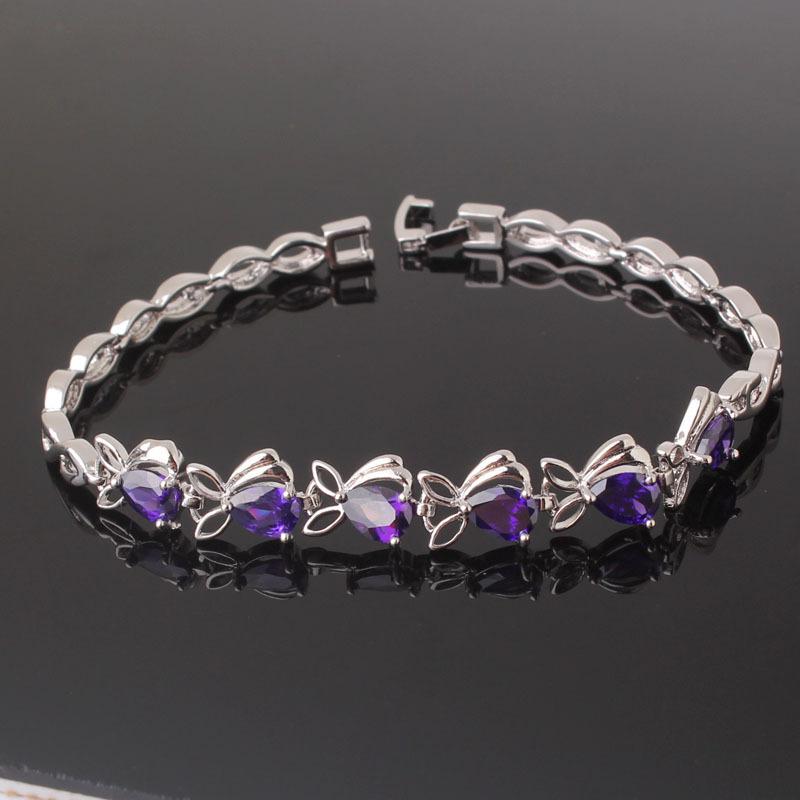 Загадочный браслет «Аметисты» с фиолетовыми цирконами и качественным платиновым покрытием купить. Цена 380 грн