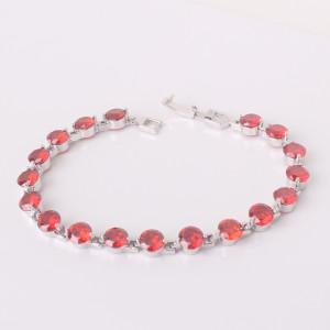 Классический браслет «Пироп» с изумительными красными цирконами в оправе, покрытой платиной фото. Купить