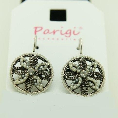 Турецкие серьги «Румелия» в виде круглого цветка в оправе под античное серебро купить. Цена 79 грн