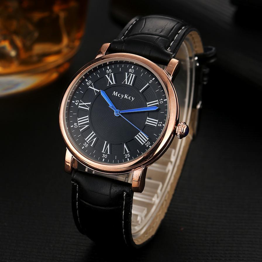 Мужские кварцевые часы «Mcy Kcy» в классическом стиле с римскими цифрами и чёрным ремешком купить. Цена 299 грн