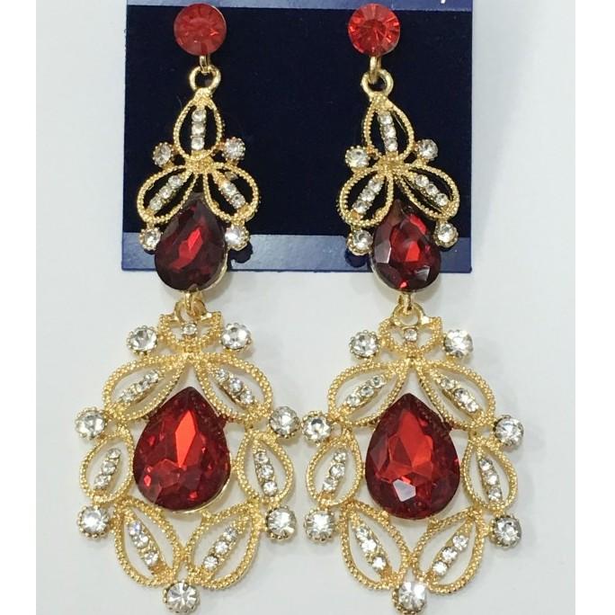 Праздничные серьги «Властелина» под золото с красным камнем и блестящими стразами купить. Цена 275 грн